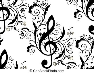 floral, notas música, ornamento