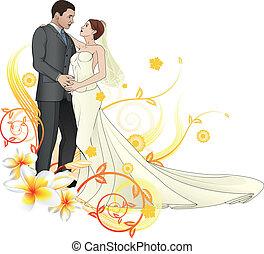 floral, novia, novio, plano de fondo, bailando