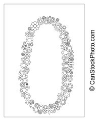 Floral number 0, number zero from flowers coloring page vector illustration