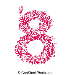 Floral number 8 for your design