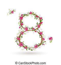 Floral number eight for your design
