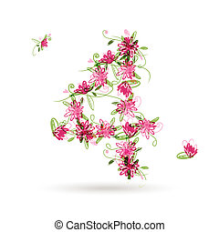 Floral number four for your design