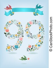 Floral Number Ninety Nine with Ribbon and birds