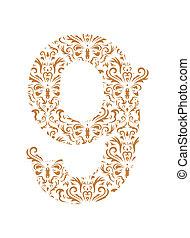 Floral number. Ornament font