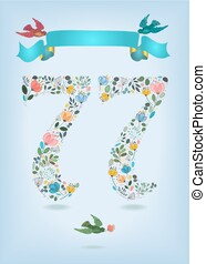 Floral Number Seventy Seven with Ribbon and birds