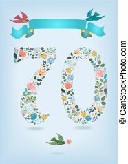 Floral Number Seventy with Ribbon and birds