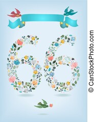 Floral Number Sixty Six with Ribbon and birds
