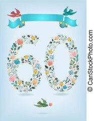 Floral Number Sixty with Ribbon and birds
