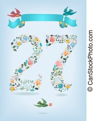 Floral Number Twenty Seven with Ribbon and birds