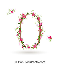Floral number zero for your design