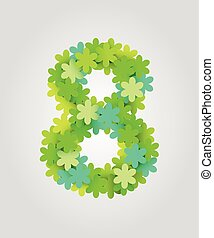 Floral numbers. Green flowers. Vector illustration. Number 8