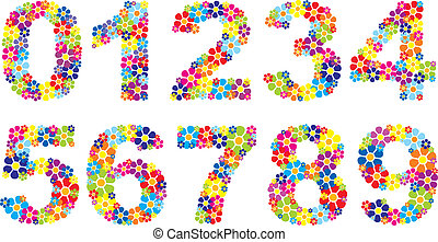 Floral numbers - Vectorial colorful floral numbers