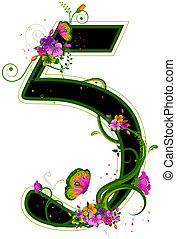 Floral Numbers with Clipping Path