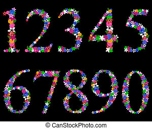 Floral numerals for using in web and print design. Vector illustration.