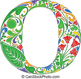 Floral O - Colorful floral initial capital letter O