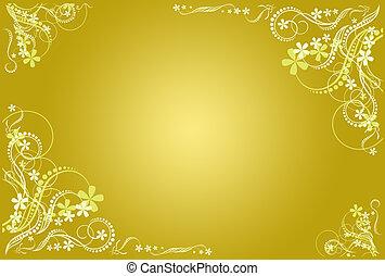 floral, ocher, artistiek, frame