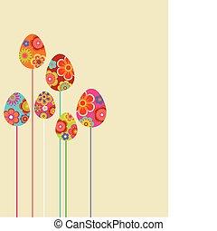 floral, oeufs, paques