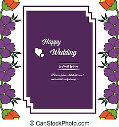 Floral of invitation template for happy wedding, vintage frame isolated on a white backdrop. Vector