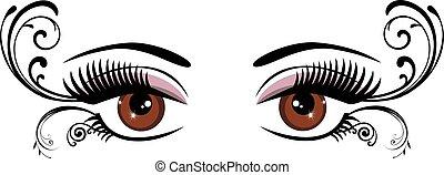 floral, olhos marrons