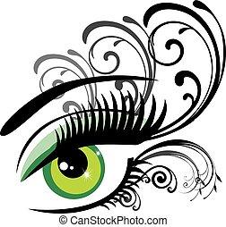 floral, olhos, verde
