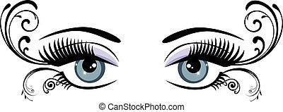 floral, olhos
