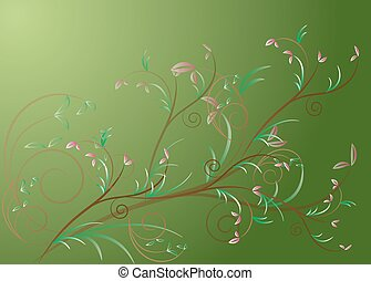 floral on green background