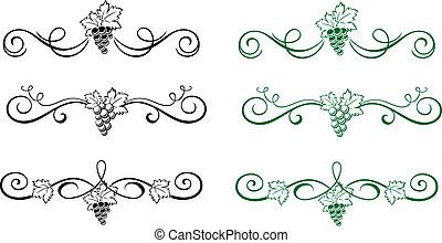 floral onderdelen, met, druif