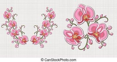 floral ontwerpen, borduurwerk
