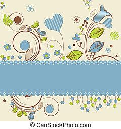 floral ontwerpen, met, ruimte, voor, tekst