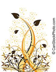 floral, orange, résumé, vecteur, ilustration