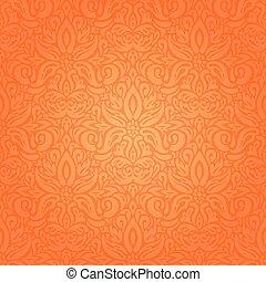 Floral Orange Retro style colorful wallpaper background