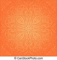 Floral Orange Retro style colorful wallpaper mandala background