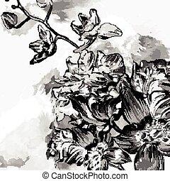floral, orchi, grunge, fond