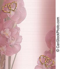 floral, orchidées, frontière, invitation