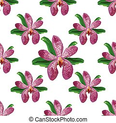 Floral orchid flower pattern vector.