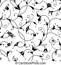 floral oriental black calligraphy isolated seamless pattern background