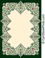 floral, oriental, cadre, frontière, ou