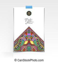 floral, oriental, desenho, papel, folha