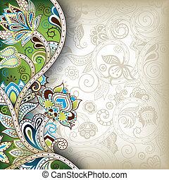 floral, oriental, fond