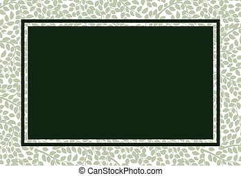 Floral oriental ornament, green leaves frame