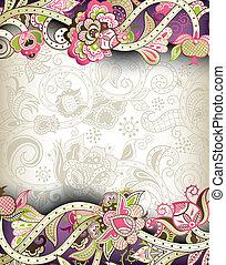 floral, oriental, plano de fondo