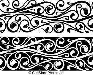 Floral ornament as tattoo strip