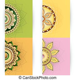 Floral ornament cards design - Vector illustration with...