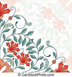 floral, ornament., carte, invitation