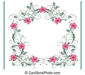 Floral ornament frame for decorative greeting card, wedding...