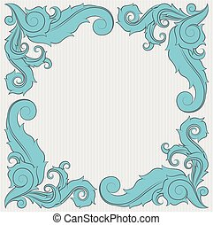 Floral ornament frame in blue with copy space on the center.