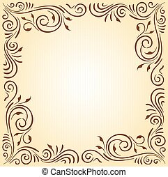 Floral ornament frame in brown