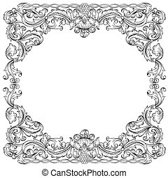 Floral ornament frame, simulates engraving Vector Based on ...