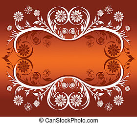 floral ornament frame with butterf
