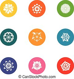 Floral ornament icons set. Flat set of 9 floral ornament vector icons for web isolated on white background
